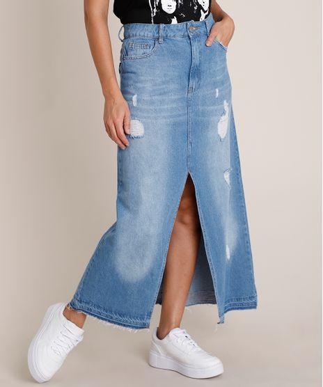 Saia-Jeans-Feminina-Longa-Destroyed-com-Fenda-Azul-Medio-9836676-Azul_Medio_1