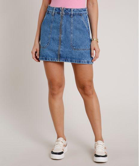 Saia-Jeans-Feminina-Curta-com-Ziper-Azul-Medio-9834409-Azul_Medio_1