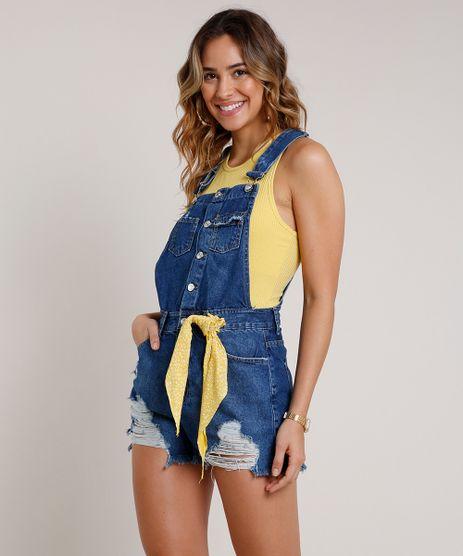 Jardineira-Jeans-Feminina-Destroyed-com-Barra-Desfiada-e-Faixa-Azul-Escuro-9834574-Azul_Escuro_1
