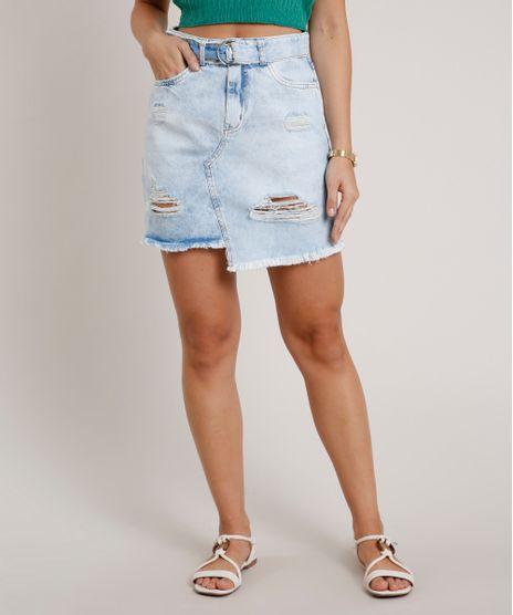 Saia-Jeans-Feminina-Curta-Destroyed-com-Cinto--Azul-Claro-9832391-Azul_Claro_1