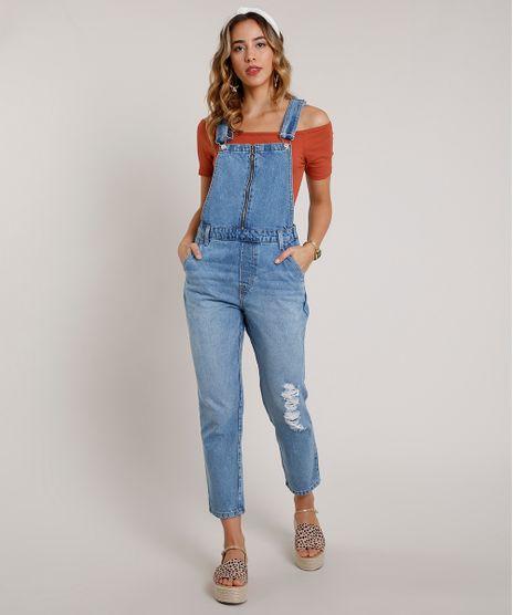 Macacao-Jeans-Feminino-com-Rasgos-e-Ziper--Azul-Medio-9833548-Azul_Medio_1
