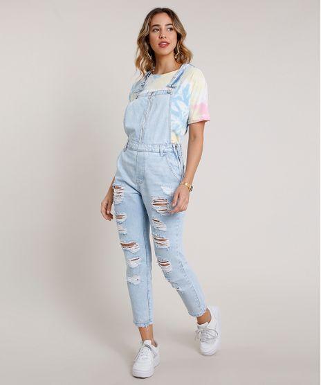 Macacao-Jeans-Feminino-Destroyed-com-Ziper--Azul-Claro-9833549-Azul_Claro_1