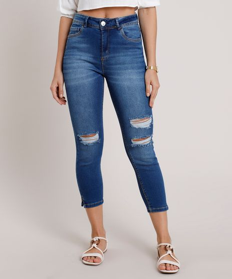Calca-Jeans-Feminina-Cropped-Cintura-Alta-Destroyed--Azul-Medio-9832404-Azul_Medio_1