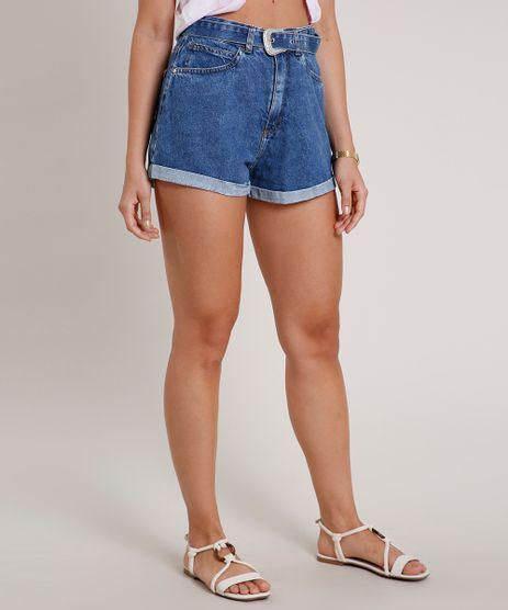 Short-Jeans-Feminino-Mom-Cintura-Super-Alta-com-Cinto-Azul-Medio-9832396-Azul_Medio_1
