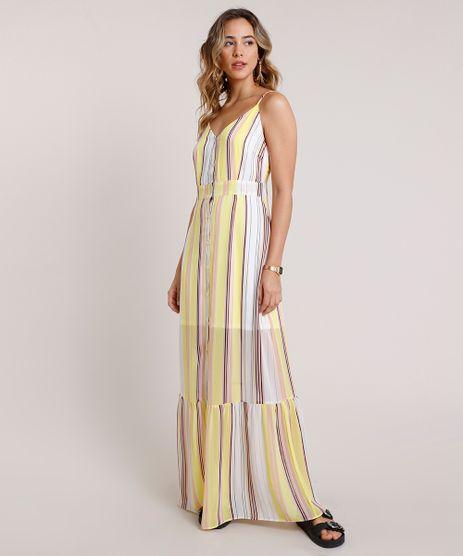 Vestido-Feminino-Longo-Listrado-com-Botoes-e-Recorte-Alca-Fina-Branco-9681411-Branco_1