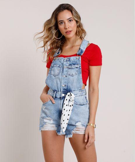 Jardineira-Jeans-Feminina-Destroyed-com-Barra-Desfiada-e-Faixa-Azul-Claro-9834573-Azul_Claro_1