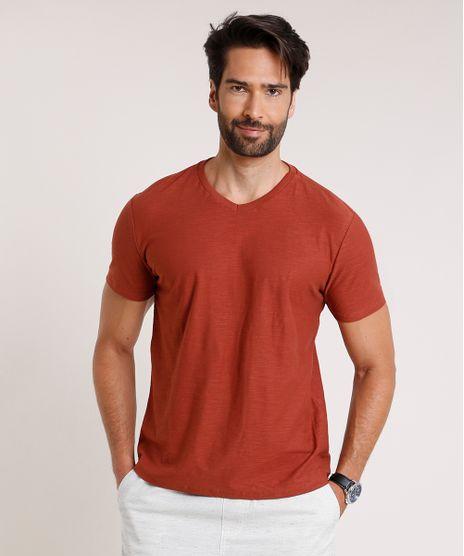 Camiseta-Masculina-Basica-Flame-Manga-Curta-Gola-V-Cobre-9595137-Cobre_1