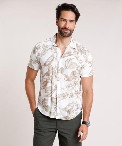 Camisa-Masculina-Slim-Fit-Estampada-de-Folhagem-Manga-Curta-Off-White-9854827-Off_White_1