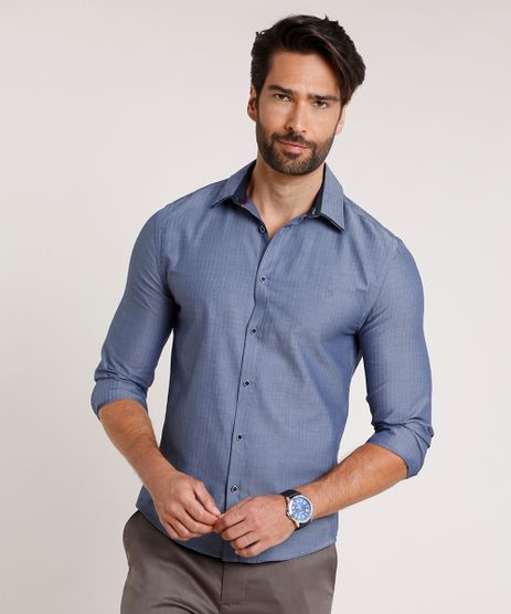 Camisa-Masculina-Slit-Fit-com-Bordado-Manga-Longa-Azul-Escuro-9508842-Azul_Escuro_1