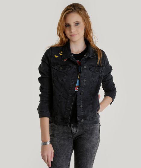Jaqueta Jeans em Algodão + Sustentável Mulher Maravilha Preta - cea bbe1c358c9c4e