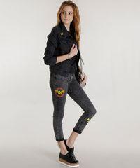 Jaqueta Jeans em Algodão + Sustentável Mulher Maravilha Preta ... 5e6d98cbcbaf8
