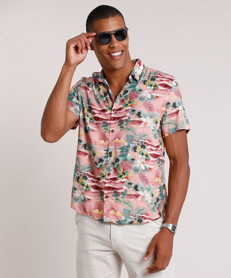 Camisa-Masculina-Tradicional-Estampada-de-Ilha-Manga-Curta--Rosa-9734605-Rosa_1
