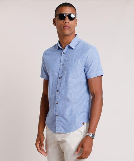 Camisa-Masculina-Tradicional-com-Bolso-Manga-Curta--Azul-9649254-Azul_1