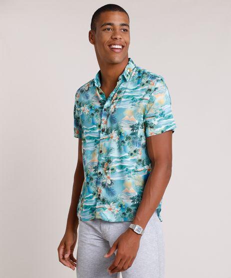 Camisa-Masculina-Tradicional-Estampada-de-Ilha-Manga-Curta--Verde-Agua-9734605-Verde_Agua_1