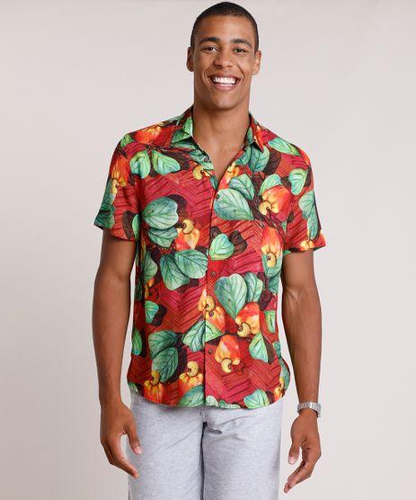 Camisa-Masculina-Tradicional-Estampada-de-Caju-Manga-Curta--Vermelha-9820318-Vermelho_1