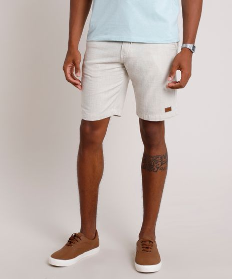 Bermuda-Masculina-Slim-com-Cordao-e-Bolsos-Bege-Claro-9838726-Bege_Claro_1