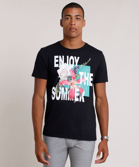 Camiseta-Masculina--Enjoy-the-Summer--Manga-Curta-Gola-Careca-Preta-9834815-Preto_1