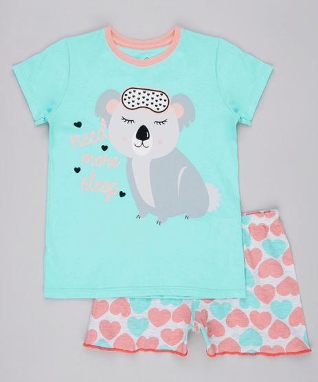 Pijama-Infantil-Coala-com-Glitter-Manga-Curta-Verde-Claro-9762475-Verde_Claro_1