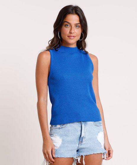 Regata-Feminina-em-Trico-Canelada-Gola-Alta-Azul-Royal-9802776-Azul_Royal_1