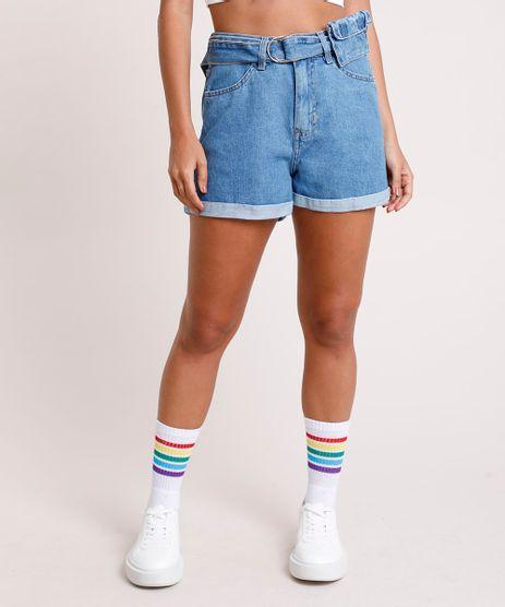 Short-Jeans-Feminino-Mom-Cintura-Super-Alta-com-Cinto-Azul-Medio-9832402-Azul_Medio_1