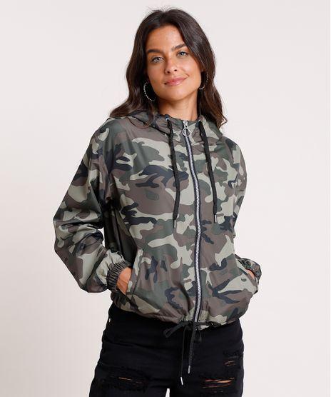 Jaqueta-Corta-Vento-Feminina-Estampada-Camuflada-com-Capuz-Verde-Militar-9755444-Verde_Militar_1