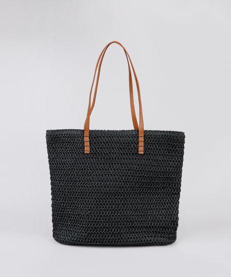 Bolsa-Feminina-Shopper-Grande-em-Palha-Preta-9602448-Preto_1