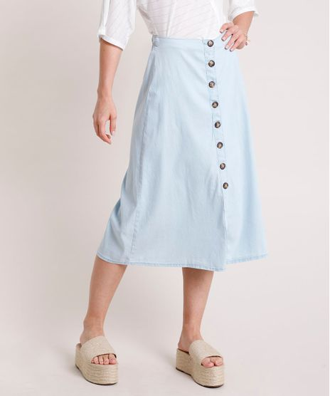 Saia-Jeans-Feminina-Midi-com-Botoes-Azul-Claro-9834904-Azul_Claro_1
