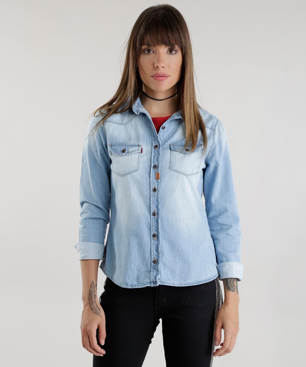 3e79ec75d053b5 Camisa Jeans em Algodão + Sustentável Azul Claro - cea