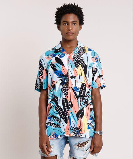 Camisa-Masculina-Tradicional-Estampada-de-Abacaxis-Manga-Curta-Azul-9729729-Azul_1