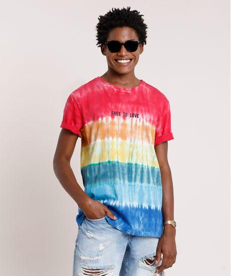 Camiseta-Masculina-Pride-Estampada-Tie-Dye--Free-to-Love--Manga-Curta-Gola-Careca-Multicor-9785563-Multicor_1