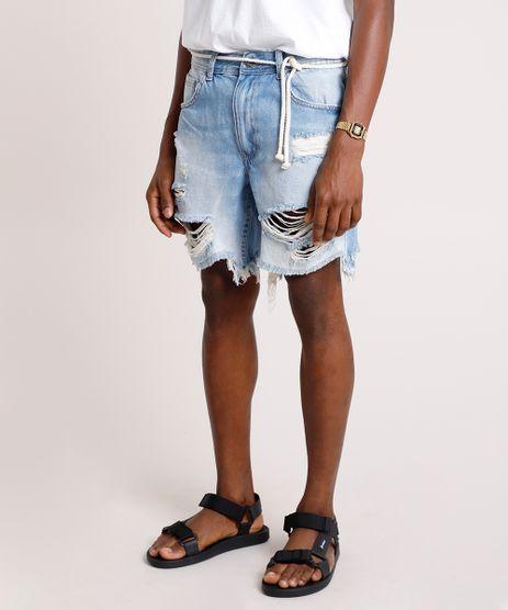 Bermuda-Jeans-Masculina-Reta-Destroyed-com-Cinto-Cordao-Azul-Claro-9766933-Azul_Claro_1