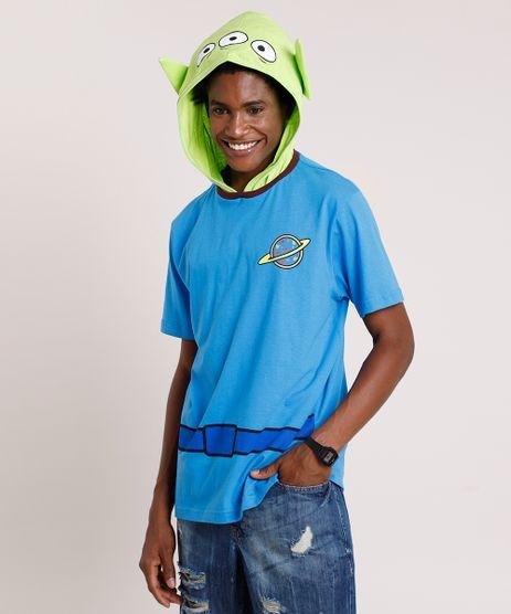 Camiseta-Masculina-Carnaval-Alien-Toy-Story-com-Capuz-Manga-Curta-Azul-9411354-Azul_1