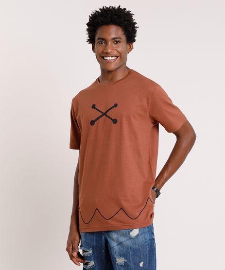 Camiseta-Masculina-Carnaval-Barney-Os-Flintstones-Manga-Curta-Gola-Careca-Marrom-9871697-Marrom_1