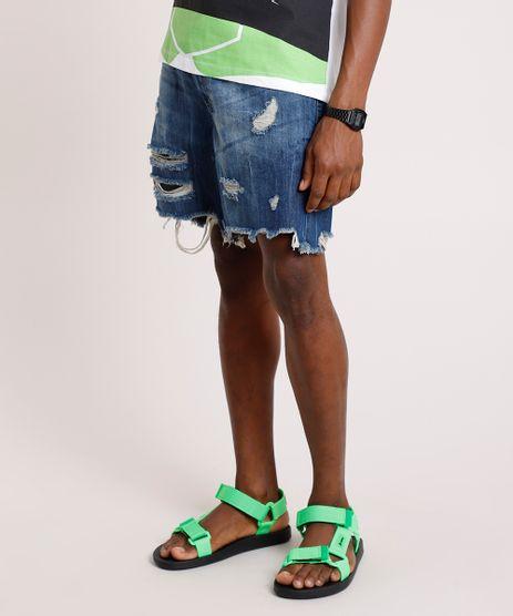 Bermuda-Jeans-Masculina-Reta-Destroyed-com-Cinto-Cordao-Azul-Escuro-9766934-Azul_Escuro_1