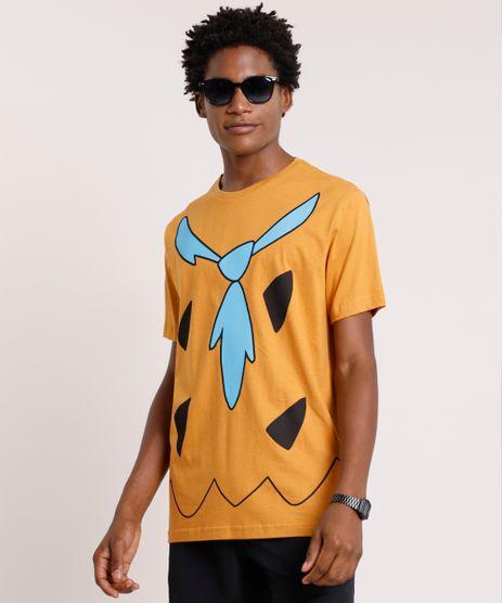 Camiseta-Masculina-Carnaval-Fred-Os-Flintstones-Manga-Curta-Gola-Careca-Caramelo-9871698-Caramelo_1