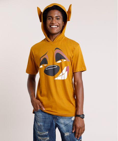 Camiseta-Masculina-Carnaval-Timao-O-Rei-Leao-com-Capuz-e-Orelhas-Manga-Curta-Caramelo-9824367-Caramelo_1