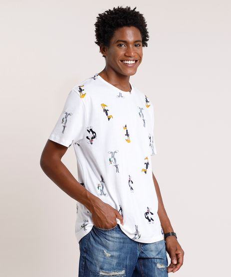 Camiseta-Masculina-Looney-Tunes-Estampada-Manga-Curta-Gola-Careca-Off-White-9719886-Off_White_1