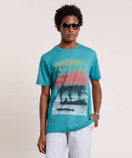 Camiseta-Masculina--Waves-Sea-Wind---Sun--Manga-Curta-Gola-Careca-Verde-9785999-Verde_1