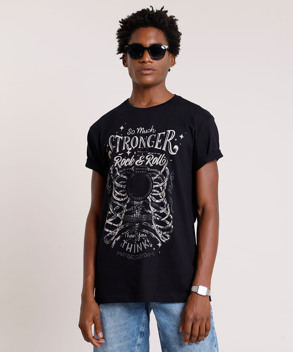 Camiseta-Masculina--Rock---Roll--Manga-Curta-Gola-Careca-Preta-9754410-Preto_1
