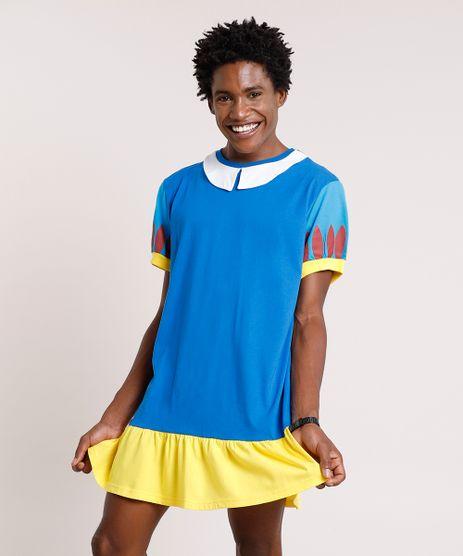 Camiseta-Masculina-Vestido-Branca-de-Neve-com-Capa-Manga-Curta-Azul-8933820-Azul_1