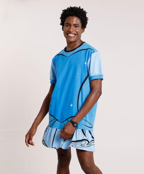 Camiseta-Masculina-Carnaval-Vestido-Cinderela-Manga-Curta-Azul-9871323-Azul_1