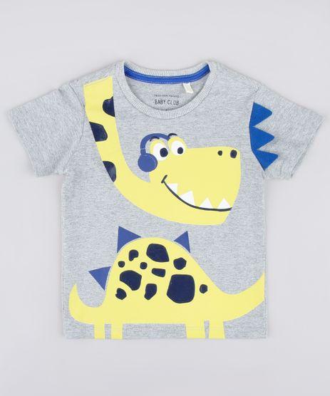 Camiseta-Infantil-com-Estampa-Interativa-de-Dinossauro-Manga-Curta-Cinza-Mescla-9837263-Cinza_Mescla_1
