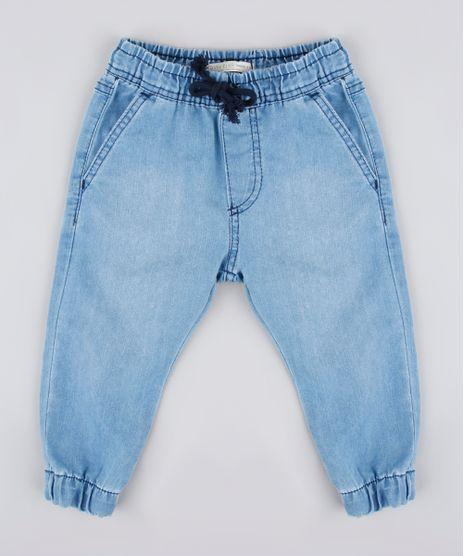 Calca-Jeans-Infantil-Jogger-com-Cordao-Azul-Medio-9760428-Azul_Medio_1