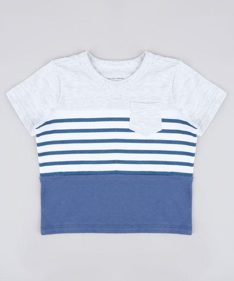 Camiseta-Infantil-com-Listras-e-Bolso-Manga-Curta-Cinza-Mescla-Claro-9837166-Cinza_Mescla_Claro_1