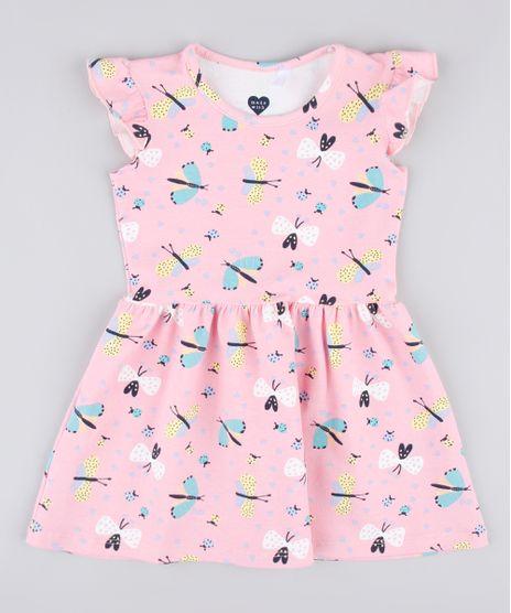Vestido-Infantil-Estampado-de-Borboletas-com-Babado-na-Manga-Rosa-9742270-Rosa_1