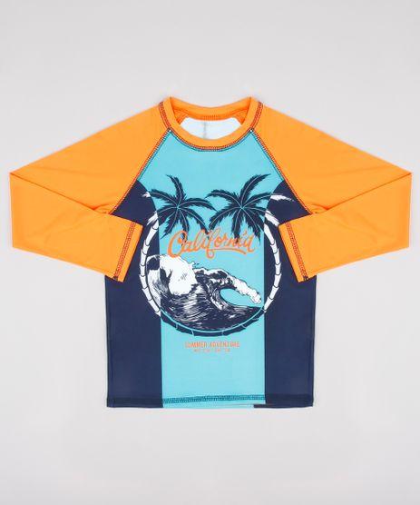 Camiseta-de-Praia-Infantil-Raglan-Estampada-de-Praia-Manga-Longa-com-Protecao-UV50--Laranja-9744461-Laranja_1