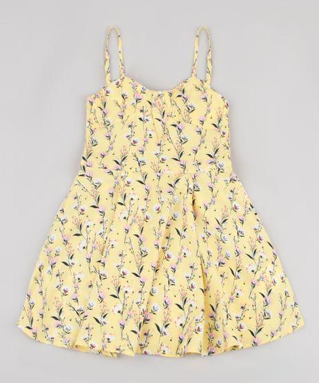 Vestido-Infantil-Estampado-Floral-com-Laco-Alcas-Finas-Amarelo-9805642-Amarelo_1