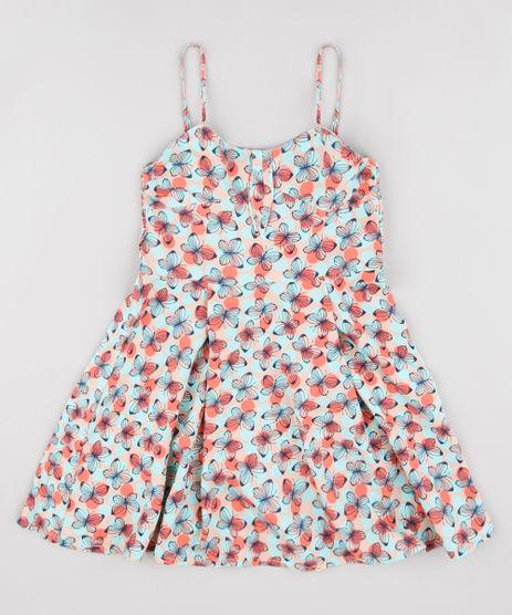 Vestido-Infantil-Estampado-de-Borboletas-com-Laco-Alca-Fina-Verde-Claro-9805641-Verde_Claro_1