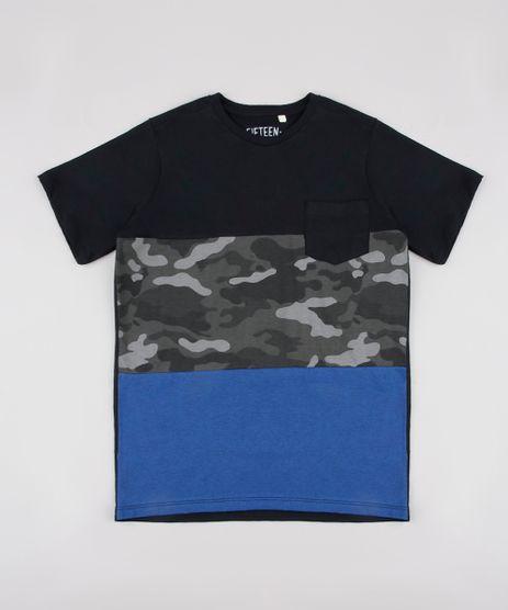 Camiseta-Infantil-com-Recortes-e-Bolso-Manga-Curta-Preta-9838010-Preto_1
