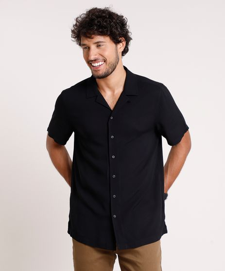 Camisa-Masculina-Relaxed-Manga-Curta-Preta-9657145-Preto_1